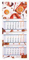 """Календарь настенный квартальный на 2021 год """"Уютный завтрак"""" (33х81 см)"""