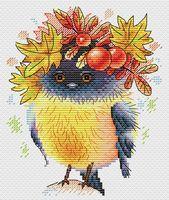 """Вышивка крестом """"Осенняя пташка"""" (170х140 мм)"""