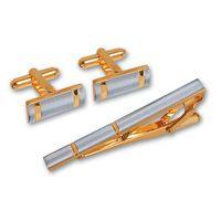Набор. Заколка для галстука, запонки (цвет: серебристый, золотой, EG-06722)