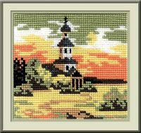 """Вышивка крестом """"Пейзаж в овале"""" (150x130 мм; арт. С090Н)"""