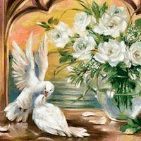 "Алмазная вышивка-мозаика ""Голуби у белых роз"" (500х500 мм)"