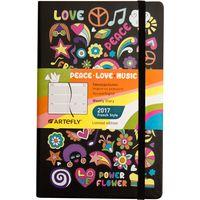 """Еженедельник датированный """"Love. Peace. Music."""" 2017 (большой; твердая черная обложка)"""