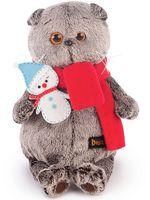 """Мягкая игрушка """"Басик в шарфике со снеговичком"""" (20 см)"""