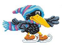 """Вышивка крестом """"Ворона на коньках"""""""