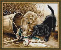 """Картина по номерам """"Щенки на рыбалке"""" (400х500 мм)"""