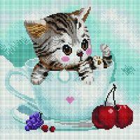 "Алмазная вышивка-мозаика ""Котенок в чашке"" (300х300 мм; арт. PD3030004)"