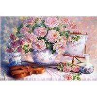 """Алмазная вышивка-мозаика """"Розы и скрипка"""" (600x400 мм)"""