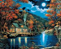 """Картина по номерам """"Хижина на берегу озера"""" (410х510 мм; арт. PLD-21690)"""