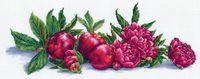 """Вышивка крестом """"Яблоки и пионы"""" (450х170 мм)"""