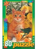 """Пазл """"В мире животных. Рыжий котенок с розами"""" (77 элементов)"""