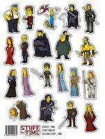"""Набор бумажных наклеек №3 """"Игра престолов. Симпсоны"""" (арт. 0003)"""
