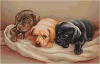 """Вышивка крестом """"Три собачки"""" (350х255 мм)"""