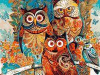 """Картина по номерам """"Сказочные совы"""" (400х500 мм)"""
