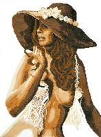"""Вышивка крестом """"Девушка в шляпе"""""""