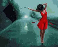 """Картина по номерам """"Девушка в красном платье"""" (400х500 мм)"""