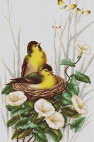 """Вышивка крестом """"Птицы в гнезде"""" (200х315 мм)"""