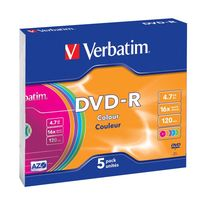 Диск DVD-R 4.7Gb 16x Verbatim Colour (в упаковке 5 штук)