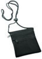 Нагрудный кошелек с 2-мя отделениями на молнии и прозрачным карманом (черный)