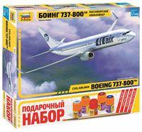 """Сборная модель """"Пассажирский авиалайнер Боинг 737-800TM"""" (масштаб: 1/144; подарочный набор)"""