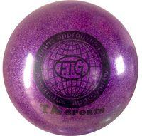 Мяч для художественной гимнастики RGB-102 (15 см; фиолетовый с блёстками)