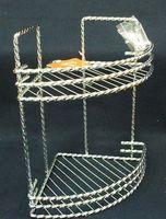 Полка для ванной угловая металлическая 2-ярусная (29х26,4х19,5 см, арт. XX8192-2)