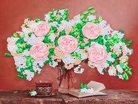 """Вышивка лентами """"Букет с розами"""" (280х180 мм)"""