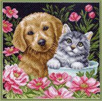 """Вышивка крестом """"Котик и собачка"""""""