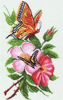 """Канва с нанесенным рисунком """"Бабочки и цветы"""""""