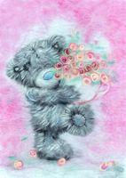 "Картина из шерсти ""Татти Тедди с цветами"""