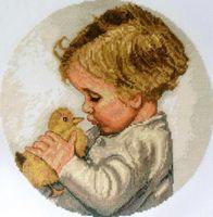 """Вышивка крестом """"Мальчик с утёнком"""" (215x215 мм)"""