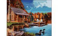 "Картина по номерам ""Домик у озера"" (400x500 мм)"