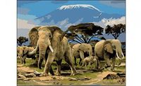"""Картина по номерам """"Семья слонов"""" (400x500 мм)"""