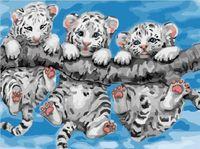 """Картина по номерам """"Тигрята на ветке"""" (300х400 мм)"""