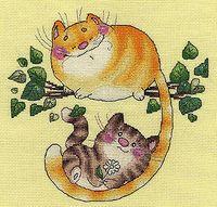 """Вышивка крестом """"Котята на дереве"""""""