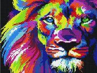 "Алмазная вышивка-мозаика ""Радужный лев"" (300х400 мм)"