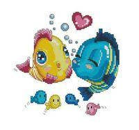"""Алмазная вышивка-мозаика """"Влюблённые рыбки"""" (300х300 мм)"""