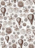 """Калька с принтом """"Стимпанк, воздушные шары и компас"""" (А4)"""