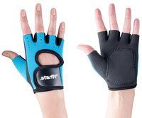 Перчатки для фитнеса SU-107 (S; синий/чёрный)