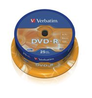 Диск DVD-R 4.7Gb 16x Verbatim CakeBox 25