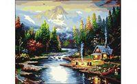 "Картина по номерам ""Дом на берегу реки"" (400x500 мм)"