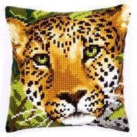 """Вышивка крестом """"Подушка. Леопард"""" (400х400 мм)"""