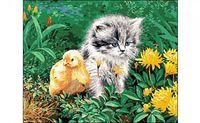 "Картина по номерам ""Котенок и цыпленок"""