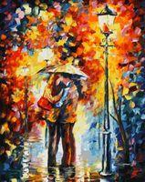 """Картина по номерам """"Поцелуй под дождем"""" (500х400 мм)"""