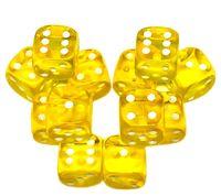 """Набор кубиков D6 """"Прозрачный"""" (12 мм; 12 шт.; желтый)"""