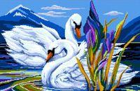 """Вышивка крестом """"Лебеди в пруду"""" (330x450 мм)"""