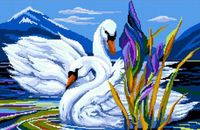 "Вышивка крестом ""Лебеди в пруду"""