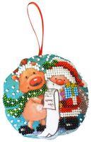 "Вышивка бисером ""Новогодняя игрушка. Дедушка Мороз"" (85х85 мм)"