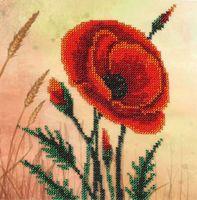 """Вышивка бисером """"Красный мак"""" (180х175 мм)"""