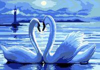 """Вышивка крестом """"Лебеди под луной"""""""