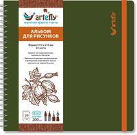 """Альбом для рисунков """"Artefly"""" (210х210 мм; твердая зеленая обложка)"""